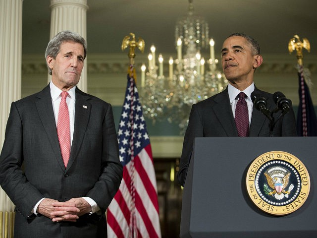 WASHINGTON, DC - FEBRUARY 25: (L-R) Secretary of State John Kerry looks on as U.S. President Barack Obama makes a statement after meeting with his National Security Council at the State Department, February 25, 2016 in Washington, DC. The meeting focused on the situation with ISIS and Syria, along with …