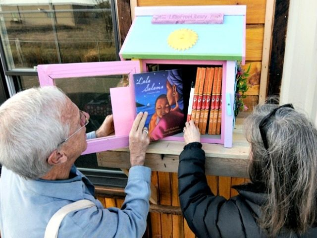 In this Thursday, Dec. 6, 2012 photo, Rick Brooks, left, looks through the small glass door as he and Elizabeth Kennedy pose beside one of the Little Free Libraries lending boxes, in Hudson, Wis. The non-profit Little Free Libraries movement is branching out in new directions including inner-city neighborhoods where …
