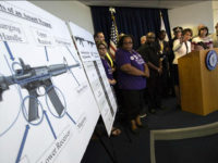 BOSTON - JULY 20: Massachusetts Attorney General Maura Healey speaks during a news conference to announce the enforcement of a ban on the sale of copycat assault rifles in Boston on July 20, 2016. (Photo by Keith Bedford/The Boston Globe via Getty Images)