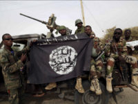 Nigerien soldiers hold up a Boko Haram flag that they had seized in the recently retaken town of Damasak, Nigeria, March 18, 2015. Chadian and Nigerien soldiers took the town from Boko Haram militants earlier this week. The Nigerian army said on Tuesday it had repelled Boko... REUTERS/EMMANUEL BRAUN