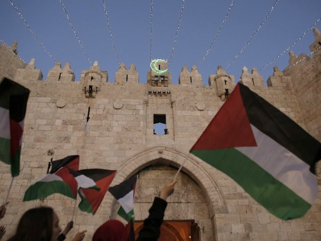 Palestinian protesters wave their national flags during a demonstration in support of Palestinian prisoner Khader Adnan, a senior member of Islamic Jihad, under administrative detention in an Israeli jail, at the Damascus Gate outside the old city of Jerusalem on June 25, 2015. Adnan has been on hunger strike for …