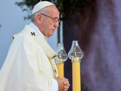 Pope Francis conducts a mass at the Campus Misericordiae (Field of Mercy) in Brzegi, near Krakow on July 31, 2016 at the end of the World Youth Days (WYD). Pope Francis is in Poland for an international Catholic youth festival with a mission to encourage openness to migrants. / AFP …