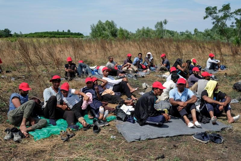 Migrants, mainly from Afghanistan and Pakistan, sit on a field near the Serbian-Hungarian border fence during a hunger strike near the village of Horgos, Serbia July 25, 2016. REUTERS/Marko Djurica