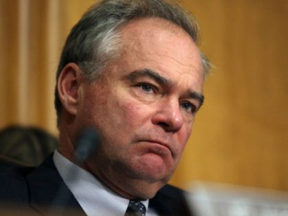 Senate Foreign Relations Committee member Sen. Tim Kaine, D-Va. listens on Capitol Hill in Washington, Tuesday, June 28, 2016, as Special Presidential Envoy Brett McGurk, the U.S. representative to the anti-Islamic State coalition, testified before the committee. (AP Photo/Lauren Victoria Burke)