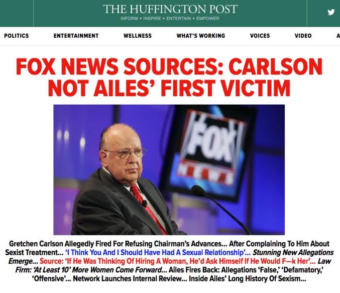 The Huffington Post's lead headline linking to Field's anonymously sourced article on Ailes.