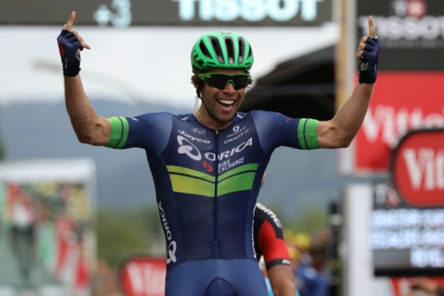 Australia's Michael Matthews celebrates as he wins the tenth stage of the 103rd edition of the Tour de France cycling race on July 12, 2016 between Escaldes-Engordany and Revel