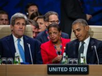US President Barack Obama (R), pictured with US Secretary of State John Kerry (L) and White House National Security Advisor Susan Rice at the NATO summit in Warsaw on July 8, 2016
