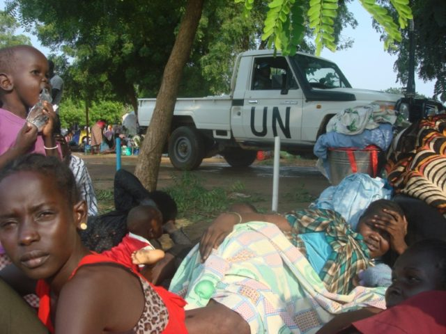 Displaced residents take shelter at the UN compound in the Tomping area of South Sudan's capital Juba on July 11, 2016