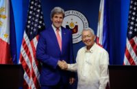 US Secretary of State John Kerry (L) shakes hands with Philippine Foreign Secretary Perfecto Yasay during their meeting at the Department of Foreign Affairs in Manila, on July 27, 2016