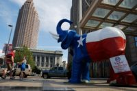 An elephant statue decorated with the state flag of Texas is seen amid preparations for the arrival of visitors and delegates for the Republican National Convention in Cleveland, Ohio, on July 17, 2016