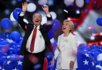 Balloons come down on Democratic presidential nominee Hillary Clinton and running mate Tim Kaine at the end of the Democratic National Convention