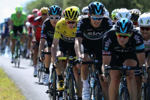 Britain's Christopher Froome (centre) rides in the peleton during the 11th stage of the Tour de France between Carcassonne and Montpellier, on July 13, 2016
