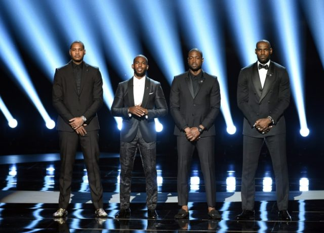 L-R: NBA players Carmelo Anthony, Chris Paul, Dwyane Wade and LeBron James speak onstage during the 2016 ESPYS at Microsoft Theater in Los Angeles, California