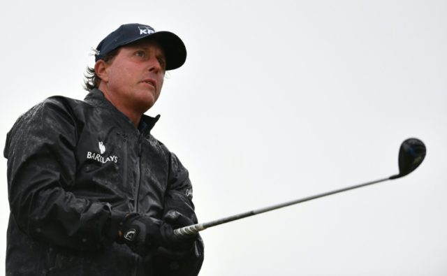 US golfer Phil Mickelson watches his shot from the 14th tee on day two of the 2016 British Open at Royal Troon in Scotland on July 15, 2016
