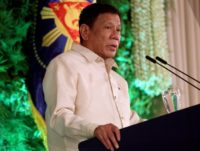 Philippine President Rodrigo Duterte says he will send a former president to China to start talks on the ruling on the disputed claims of the South China Sea from The Hague-based Permanent Court of Arbitration
