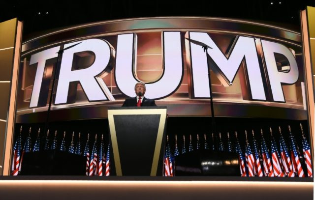 Republican presidential candidate Donald Trump addresses delegates on the final night of the Republican National Convention at the Quicken Loans Arena in Cleveland, Ohio on July 21, 2016