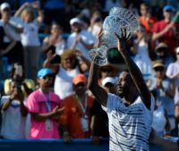 Gael Monfils of France celebrates after his 5-7, 7-6, 6-4 win against Ivo Karlovic, at Rock Creek Tennis Center in Washington, DC, on July 24, 2016