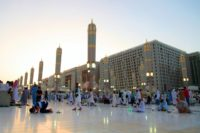 Muslim worshippers gather at the Prophet's Mosque on June 10, 2016 in the Saudi holy city of Medina
