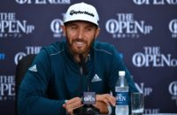 US golfer Dustin Johnson smiles as he speaks to members of the media at a press conference ahead of the 2016 British Open Golf Championship at Royal Troon in Scotland