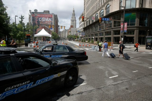 Police cars sit at a checkpoint amid preparations for the arrival of visitors and delegates for the Republican National Convention, on July 16, 2016, in Cleveland, Ohio