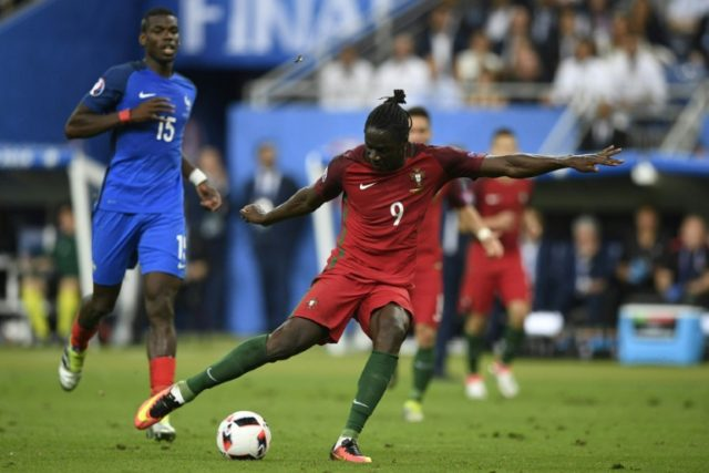Portugal's forward Eder shoots to score the team's first goal during the Euro 2016 final football match between France and Portugal at the Stade de France in Saint-Denis, north of Paris, on July 10, 2016