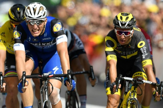 Germany's Marcel Kittel (left) crosses the finish line ahead of France's Bryan Coquard to win the fourth stage of the 103rd edition of the Tour de France between Saumur and Limoges, on July 5, 2016