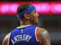 "Carmelo Anthony of the New York Knicks, pictured on March 23, 2016, posted a message on social media calling for athletes to help change a system that he described as ""Broken. Point blank period"""