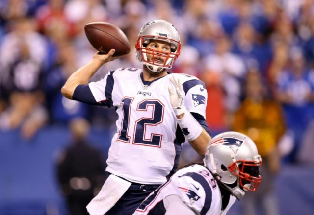 Tom Brady of the New England Patriots throws a pass during the game against the Indianapolis Colts on October 18, 2015