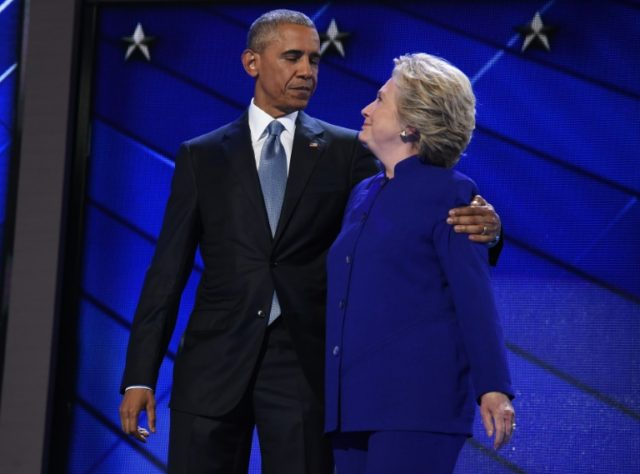 US President Barack Obama shared a warm embrace with Hillary Clinton, capping an all-star night that included appearances by Joe Biden, Tim Kaine and Michael Bloomberg