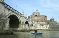 Italian police patrol the Tiber River in Rome