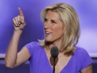 Conservative political commentator Laura Ingraham points toward the media booths as she speaks during the third day of the Republican National Convention in Cleveland, Wednesday, July 20, 2016. (AP Photo/J. Scott Applewhite)