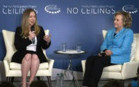 "In this image taken from video, Chelsea Clinton, left, speaks to the audience as she co-hosts ""Girls: A No Ceilings Conversation,"" with her mother, former Secretary of State Hillary Rodham Clinton, in New York, Thursday, April 17, 2014. The daughter of former president Bill Clinton and the former Secretary of …"