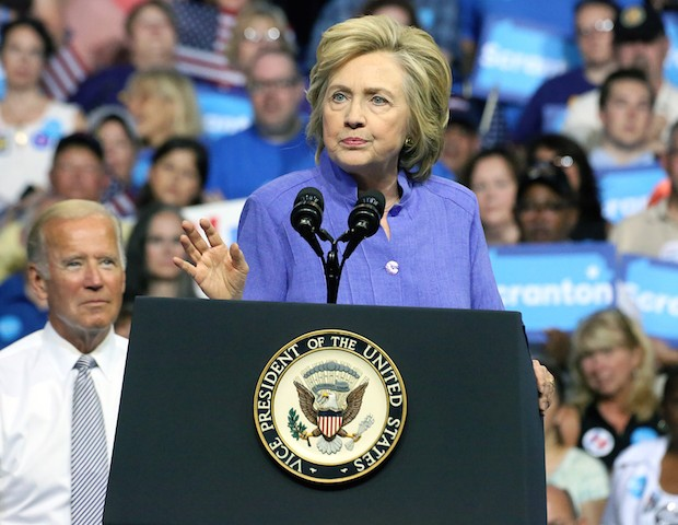 SCRANTON, PA - AUGUST 15 : Vice President Joe Biden and Presidential candidate Hillary Clinton pictured discussing their shared commitment to building an America that is stronger together and an economy that works for everyone, not just those at the top at Riverfront Sports in Scranton, Pa on August 15, …