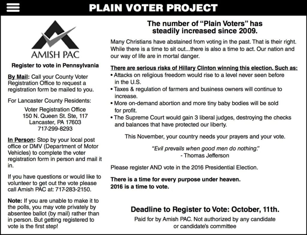 Amish Voting Instructions