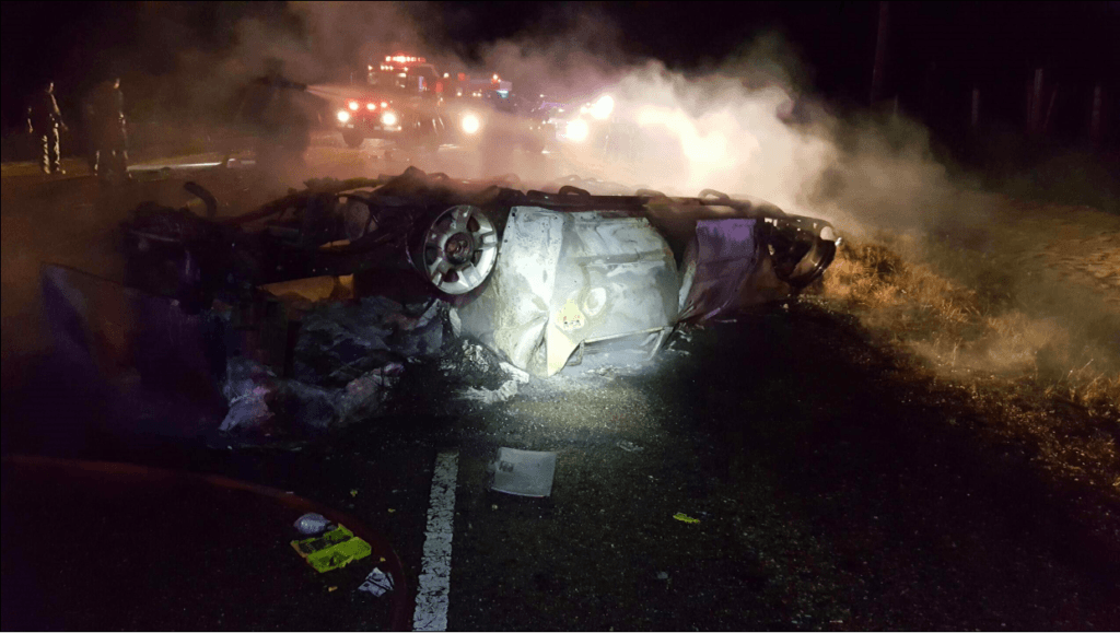 Single-car rollover accident and fire. (Photo: U.S. Border Patrol/BORSTAR)