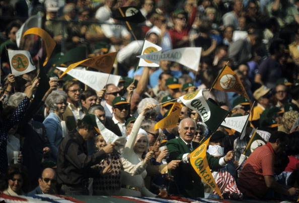 Baseball: World Series: Oakland Athletics owner Charlie Finley (green suit) in stands during game vs Cincinnati Reds. Game 5. Oakland, CA 10/20/1972 CREDIT: Walter Iooss Jr. (Photo by Walter Iooss Jr. /Sports Illustrated/Getty Images) (Set Number: X17185 TK5 )