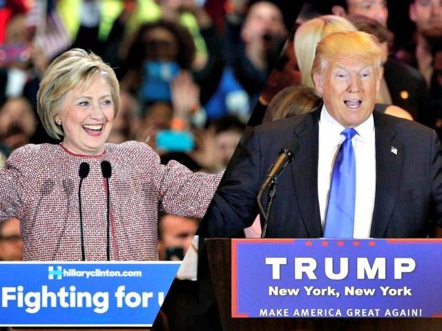 Clinton and Trump Campaigning AP Photos
