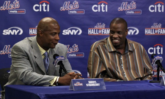 NEW YORK - JULY 31: Former players Darryl Strawberry (L) and Dwight Gooden speak during a press conference for their induction into the New York Mets Hall of Fame prior to the game against the Arizona Diamondbacks on July 31, 2010 at Citi Field in the Flushing neighborhood of the …