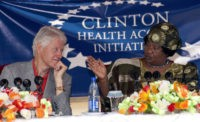 Malawi's President Joyce Banda speaks during a press conference with former US President Bill Clinton on August 1, 2013 at the Kamuzu Central Hospital Laboratory in Lilongwe which is supported by the Clinton Health Access Initiative on the second day of his two-day private visit to Malawi. Clinton is in Malawi to discuss non-profit projects sponsored by the Clinton and Hunter Foundation. AFP PHOTO / AMOS GUMULIRA        (Photo credit should read AMOS GUMULIRA/AFP/Getty Images)