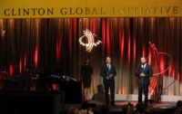 NEW YORK, NY - SEPTEMBER 21:  Actor/activist Leonardo DiCaprio (R) accepts the Clinton Global Citizen Leadership in Philanthropy Award at the 8th Annual Clinton Global Citizen Awards at Sheraton Times Square on September 21, 2014 in New York City.  (Photo by Jemal Countess/Getty Images)