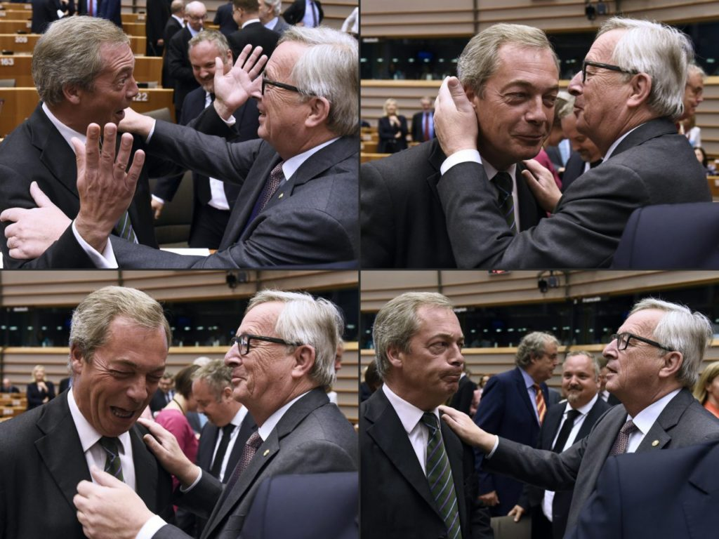 TOPSHOT - (COMBO) This combination of pictures created on June 28, 2016 shows United Kingdom Independence Party (UKIP) leader Nigel Farage (L) reacting as he meets with European Union (EU) Commission President Jean-Claude Juncker ahead of a plenary session at the EU headquarters in Brussels on June 28, 2016. European Commission chief Jean-Claude Juncker called on June 28 on Prime Minister David Cameron to clarify quickly when Britain intends to leave the EU, saying there can be no negotiation on future ties before London formally applies to exit. / AFP / JOHN THYS (Photo credit should read JOHN THYS/AFP/Getty Images)