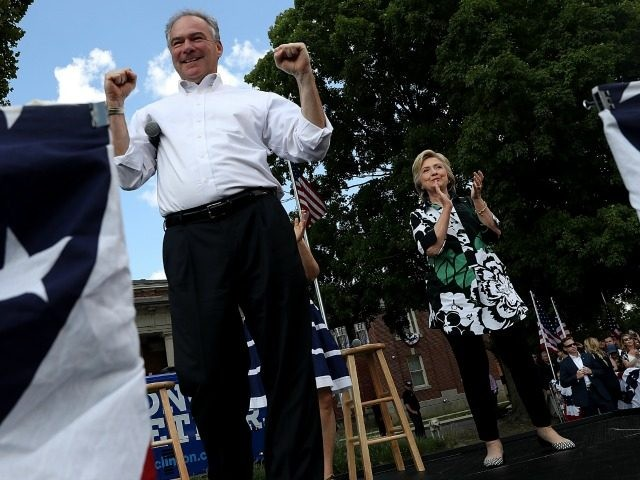 Democratic presidential nominee former Secretary of State Hillary Clinton democratic vice presidential nominee U.S. Sen Tim Kaine (D-VA) greet supporters during a campaign rally at Fort Hayes Vocational School on July 31, 2016 in Columbus, Ohio.