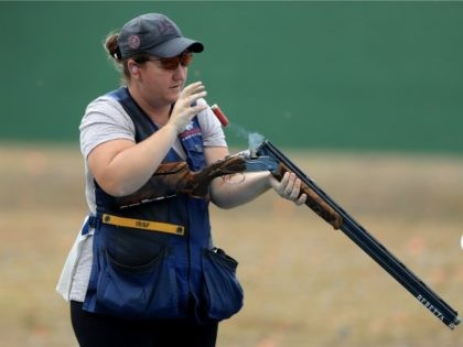 Kim Rhode of the United States shoots in a training session prior to the start of the Rio 2016 Olympic Games at the Olympic Shooting Centre on August 4, 2016 in Rio de Janeiro, Brazil.