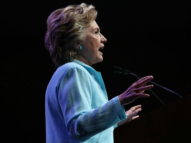 Democratic presidential nomiee Hillary Clinton addresses the National Association of Black Journalists and the National Association of Hispanic Journalists August 5, 2016 in Washington, DC.