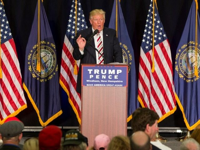 Republican presidential candidate Donald Trump speaks during a rally August 6, 2016 in Windham, NH.