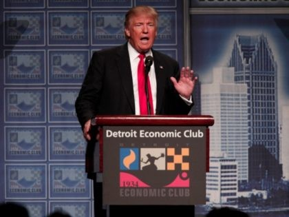 DETROIT, MI - AUGUST 8: Republican presidential candidate Donald Trump delivers an economic policy address detailing his economic plan at the Detroit Economic Club August 8, 2016 in Detroit Michigan.