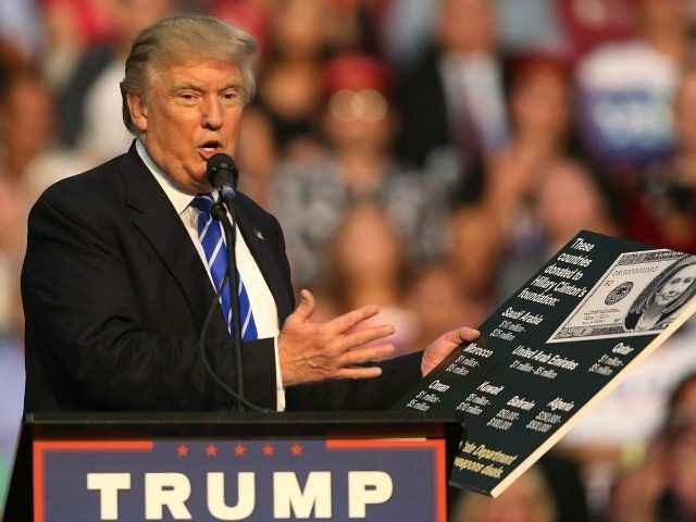 Republican presidential nominee Donald Trump holds up a chart as he makes a point as he speaks during his campaign event at the BB&T Center on August 10, 2016 in Fort Lauderdale, Florida. Trump continued to campaign for his run for president of the United States. (Photo by