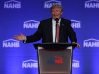 Republican presidential nominee Donald Trump speaks during an address to the National Association of Home Builders at the Fontainebleau Miami Beach hotel on August 11, 2016 in Miami