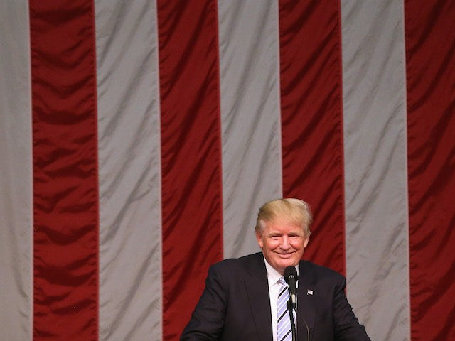 FAIRFIELD, CT - AUGUST 13: Republican Presidential candidate Donald Trump address supporters on August 13, 2016 in Fairfield, Connecticut. Thousands of people in the traditionally Democratic-leaning state came out to see Trump speak at Sacred Heart University. (Photo by John Moore/Getty Images)