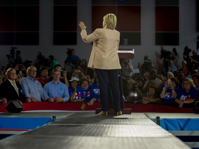 Democratic presidential candidate Hillary Clinton speaks to supporters at a rally at John Marshall High School on August 17, 2016 in Cleveland, Ohio. (Photo by Restrictions